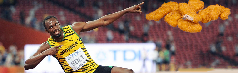 Usain Bolt eats chicken nuggets