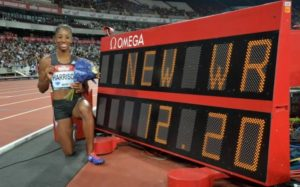 Kendra Harrison showcasing her new World Record. Credit: USA TODAY SPORTS
