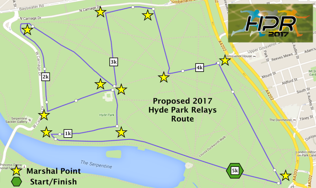 Race map for the hyde park relays