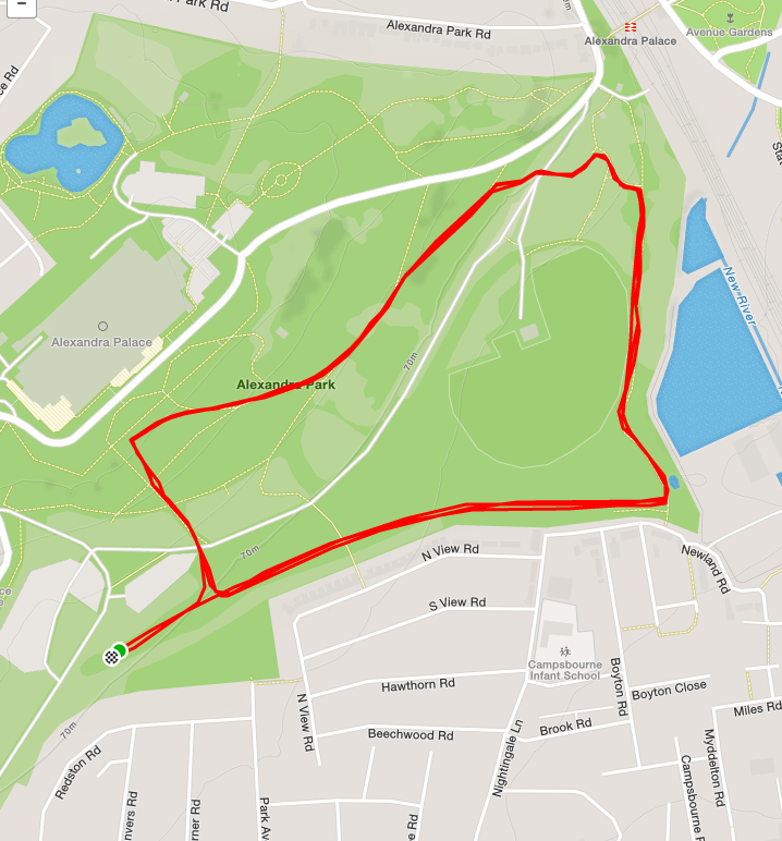 Map of Alexandra Palace route