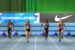 Women's 60m, Heat 5. (From left to right) Shereen Charles, Maya Bruney, Asha Philip, Aleasha Kiddle.
