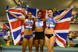 Women's 800m medalists, (from left to right) Adelle Tracey, Shelyana Oskan-Clark and Mhairi Hendry.
